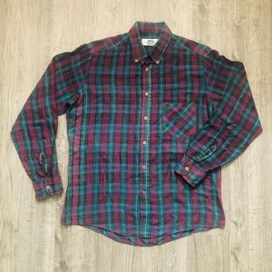 Matrix Dark Green Burgundy Plaid Collared Shirt